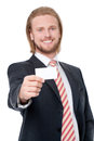 Businessman with visit card Stock Photography