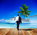 Businessman Walking Beach Freedom Relaxation Concept Royalty Free Stock Photo