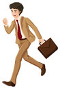 A businessman walking hurriedly with an attache case illustration of on white background Royalty Free Stock Image