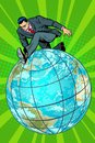 Businessman walking on the planet Royalty Free Stock Photo