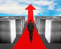 Businessman walking on red arrow through 3d Maze Royalty Free Stock Photo