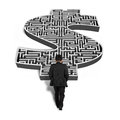 Businessman walking toward d money shape maze isolated in white background Royalty Free Stock Photography