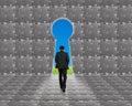 Businessman walking toward key shape door on puzzles wall Royalty Free Stock Photo