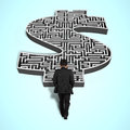 Businessman walking toward money shape maze d Royalty Free Stock Photos