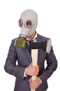 Businessman wearing gas mask isolated on white Royalty Free Stock Photos