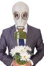 Businessman wearing gas mask isolated on white Royalty Free Stock Photo