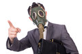 Businessman wearing gas mask isolated on white Royalty Free Stock Photography