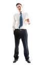 Businessman with whiskey a young on a white background a glass of Stock Photos