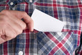 Businessman who takes out blank business card from the pocket of his shirt Royalty Free Stock Photo