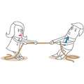 Businessman and woman rope pulling Royalty Free Stock Photography