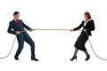 Businessman and woman tug of war isolated on white women rivalry concept Royalty Free Stock Photography
