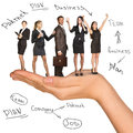 Businessman and women in humans hand nad on isolated white background Royalty Free Stock Images