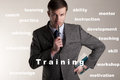 Businessman and word the represents keywords for training Royalty Free Stock Photo