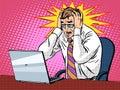 Businessman working on laptop bad news panic