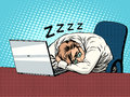 Businessman working on laptop fatigue sleep
