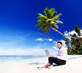 Businessman Working Laptop Summer Beach Concept Royalty Free Stock Photo