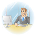 Businessman working in office in the workplace smiling man speak on telephone vector illustration Royalty Free Stock Photos