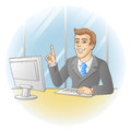 Businessman working in office in the workplace smiling pointing the finger vector illustration Royalty Free Stock Photo