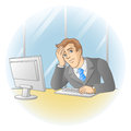 Businessman working in office in the workplace thinking or tired man vector illustration Royalty Free Stock Images