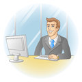 Businessman working in office in the workplace vector illustration Royalty Free Stock Photo