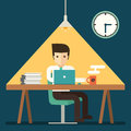 Businessman working overtime late night in office Royalty Free Stock Photo