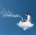 Businessman works over a cloud Stock Photo