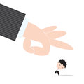 Businessman worry and fear hand of boss kicked or strum abstract of business recruitment concept Royalty Free Stock Photo