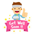 Businessman Wrapped in Bandage With Get Well Soon Banner