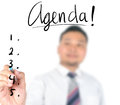 Businessman writing agenda use for layout design background Stock Photo
