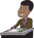 Businessman writing smiling handsome african at desk on white background Stock Images