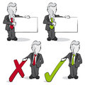 Businessman with yes and no concept cartoon of a Stock Images