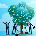 Businessmans look after monetary tree Royalty Free Stock Photo