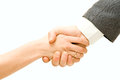 Businessmans shaking hands businessman and businesswoman Royalty Free Stock Photography