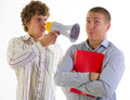 Businessmen aggressively speak using the megaphone on a light background Royalty Free Stock Image