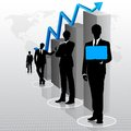 Businessmen with bar graph easy to edit vector illustration of businessman standing Stock Images