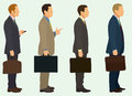 Businessmen with briefcase business men waiting in line Royalty Free Stock Photos