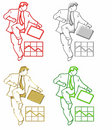 Businessmen and Briefcase Icon Stock Image