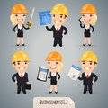Businessmen cartoon characters set in helmet in the eps file each element is grouped separately clipping paths included in Royalty Free Stock Photos
