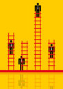 Businessmen climbing corporate ladder Stock Image