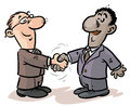 Businessmen handshake cartoon illustration of a of from different nationalities Stock Photo