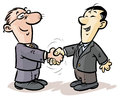 Businessmen handshake cartoon illustration of a of from different nationalities Royalty Free Stock Photos