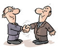 Businessmen handshake cartoon image of a two Stock Photography