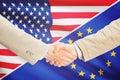 Businessmen handshake - United States and European Union Royalty Free Stock Photo