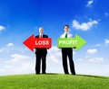 Businessmen holding arrows for loss and profit two contrasting Stock Image