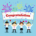 Businessmen holding congratulation sign. Vector