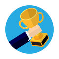 Businessmen holding Trophy cup flat icon-Vector Illustration