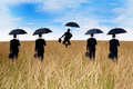 Businessmen insurance agent on the meadow with umbrella Stock Photos