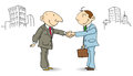 Businessmen make a deal two shaking hands in the street the is good Stock Photography