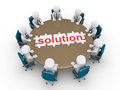 Businessmen in a meeting find the solution d around table and finished puzzle of Stock Images