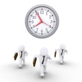 Businessmen race against time three are running and a round clock Stock Image